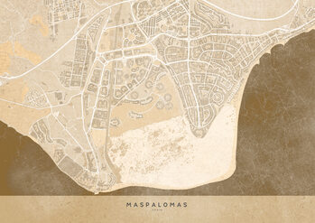 Kaart Sepia vintage map of Maspalomas