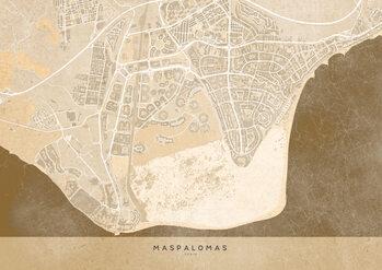 Mapa Sepia vintage map of Maspalomas