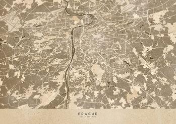 Mapa Sepia vintage map of Prague