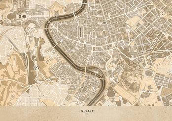 Mapa Sepia vintage map of Rome