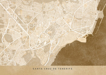 Mapa Sepia vintage map of Santa Cruz de Tenerife