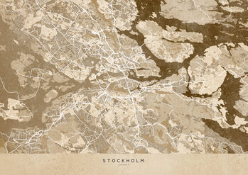 Mapa Sepia vintage map of Stockholm