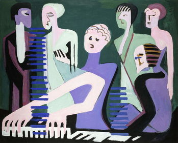 Singer on piano (pianist), 1929 Kunstdruk