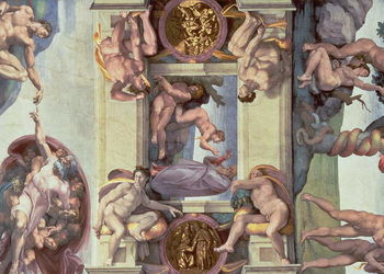 Sistine Chapel Ceiling (1508-12): The Creation of Eve, 1510 (fresco) Reproduction de Tableau