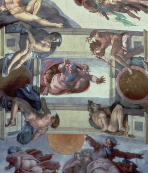 Sistine Chapel Ceiling (1508-12): The Separation of the Waters from the Earth, 1511-12 (fresco) Reproduction de Tableau