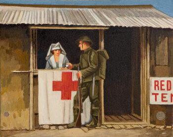 Soldier and Nurse Kunstdruk