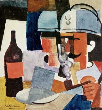 Reproducción de arte Soldier with Pipe and Bottle