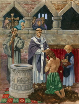 St Augustine baptising King Ethelbert Reproduction de Tableau