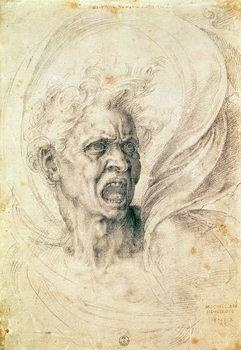 Study of a man shouting Kunstdruck