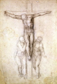 Study of Christ on the Cross between the Virgin and St. John the Evangelist (black chalk on paper) Kunstdruck