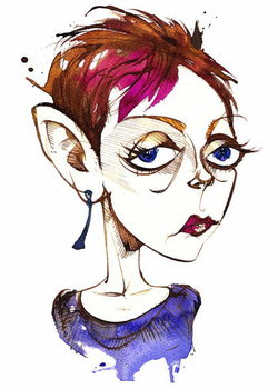 Tansy Davies, English composer ; caricature Kunsttryk