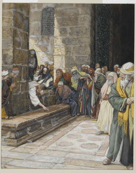 The Adulterous Woman - Christ Writing upon the Ground, illustration from 'The Life of Our Lord Jesus Christ', 1886-94 Reproduction de Tableau