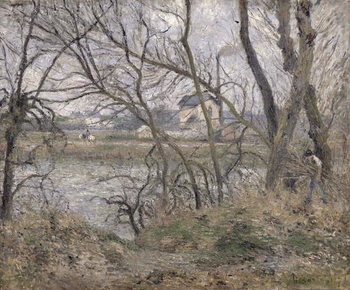 The Banks of the Oise, near Pontoise, Cloudy Weather, 1878 Kunsttryk