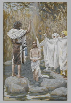 The Baptism of Jesus, illustration from 'The Life of Our Lord Jesus Christ' Reproduction de Tableau