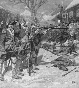 The 'Boston Massacre', engraved by J. Bernstrom, from Harper's Magazine, 1883 Reproduction de Tableau