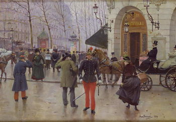 The Boulevard des Capucines and the Vaudeville Theatre, 1889 Kunstdruk