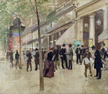The Boulevard Montmartre and the Theatre des Varietes, c.1886 Kunstdruk