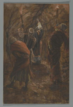 The Chasm in the Rock in the Cave Beneath Calvary, illustration from 'The Life of Our Lord Jesus Christ', 1886-94 Reproduction de Tableau