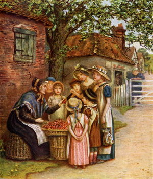 'The cherry woman' by Kate Greenaway. Kunsttryk