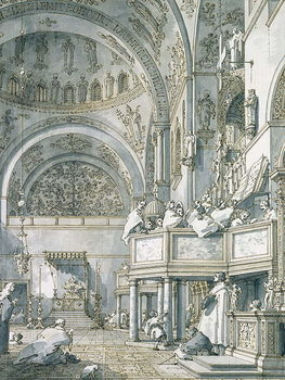 The Choir Singing in St. Mark's Basilica, Venice, 1766 Kunsttryk