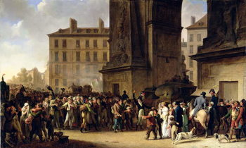 The Conscripts of 1807 Marching Past the Gate of Saint-Denis (oil on canvas) Kunstdruk