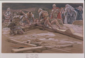 The First Nail, illustration for 'The Life of Christ', c.1886-96 Kunsttryk