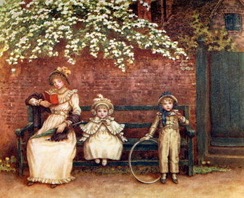 'The garden seat'  by Kate Greenaway. Kunstdruk