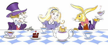 The Mad Hatter's Tea Party - illustration to  Lewis Carroll 's 'Alice's Adventures in Wonderland' , 2005 Kunsttryk