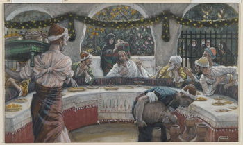 The Meal in the House of the Pharisee, illustration from 'The Life of Our Lord Jesus Christ' Reproduction de Tableau