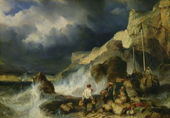 The Onslaught of the Smugglers, c.1837 Kunsttryk