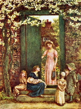 'The open door'   by Kate Greenaway Kunstdruk