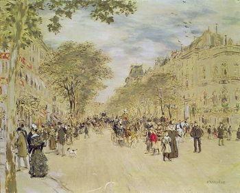 Reproducción de arte The Pavillon de Hanovre and the Boulevard des Italiens, Paris, after 1870