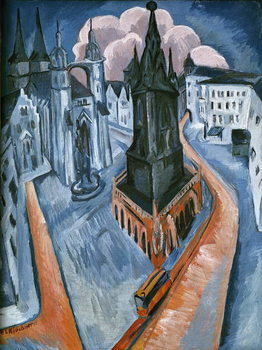 The Red Tower in Halle, 1915 Kunstdruck