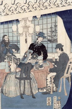The salon of a house of foreign merchants at Yokohama, 1861 Reproduction de Tableau
