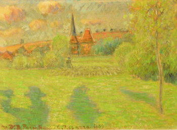 The shepherd and the church of Eragny, 1889 Kunsttryk