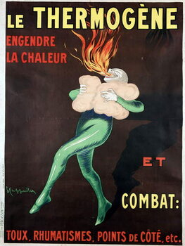 The thermogen generates heat and fights cough, rheumatism, side points etc: poster by Leonetto Cappiello , 1926. A man warmed by the medicine spits out a flame. BN, Paris. Reproduction de Tableau