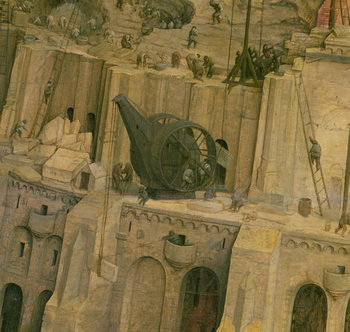 The Tower of Babel, detail of construction work, 1563 (oil on panel) Kunstdruck