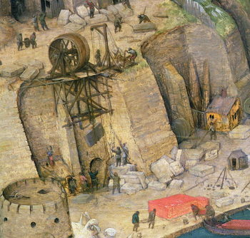 The Tower of Babel, detail of the construction works, 1563 (oil on panel) Kunstdruck