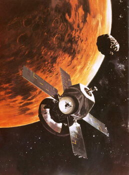 Reproducción de arte The Viking spacecraft imagined orbiting Mars