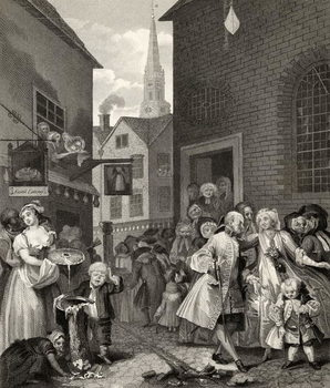 Times of the Day: Noon, from 'The Works of William Hogarth', published 1833 Kunsttryk
