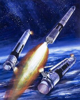 Reproducción de arte Titan IIIC rocket booster