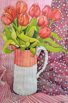 Tulips in a Pink and White Jug,2005 Reproduction de Tableau