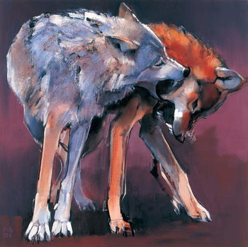 Two Wolves, 2001 (oil on canvas) Kunsttryk