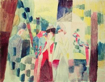 Reproducción de arte Two Women and a Man with Parrots, 20th century