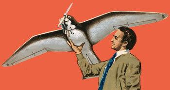 Reproducción de arte Unidentified man with bird-shaped plane with propeller