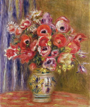 Vase of Tulips and Anemones, c.1895 Kunsttryk