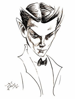 Vaslav Nijinsky, Russian dancer and choreographer , sepia line caricature, 2004 by Neale Osborne Kunsttryk