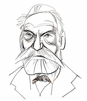 Victor Hugo - caricature of French writer Kunstdruck