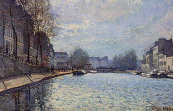 View of the Canal Saint-Martin, Paris, 1870 Reproduction de Tableau