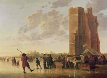 View of the Maas in Winter Reproduction de Tableau